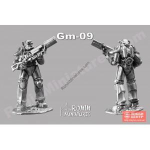 Силовая броня Т-45 из игры Fallout  с винтовкой Гаусса Gm-10