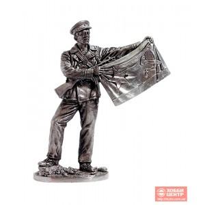 Старшина 1-й статьи с флагом ВМФ, 1941-43 гг. СССР WWII-36