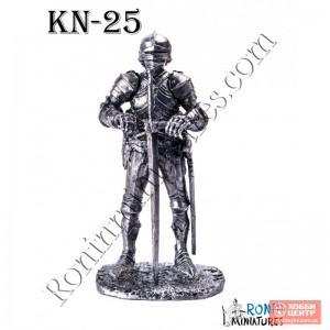 Рыцарь XV века в готическом доспехе с двуручным мечем Kn-25